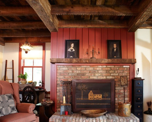 Gorgeous Brick Wall around the Rustic Fireplace Mantels near Fluffy Sofa and Black Shelves under the Wooden Ceiling