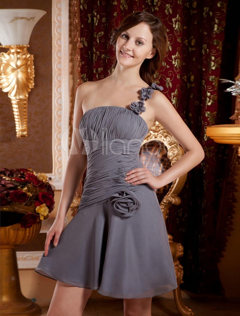 China Wholesale Dresses - Sage One-Shoulder Flower Chiffon Woman's Graduation Dress