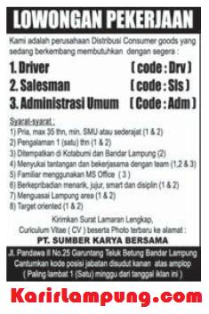 Lowongan Admin, Driver, & Salesman PT Sumber Karya Bersama Bandar Lampung