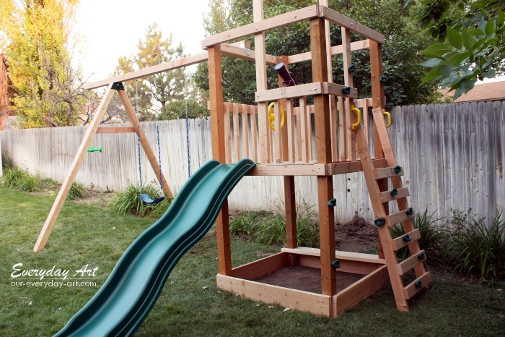 Everyday art diy wooden swing set for Wooden swing set plans
