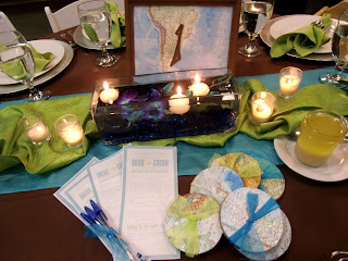 South America table sign, globe coasters, floating candles.  Photo by Patricia Stimac