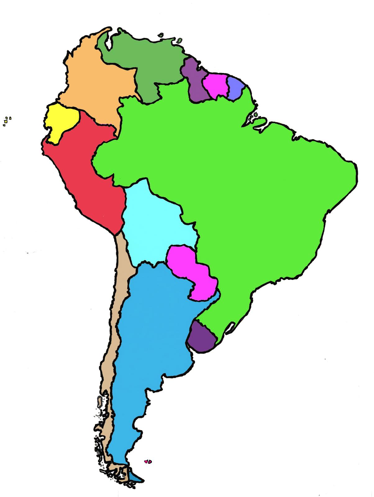 Atlas Dibujo Del Mapa De America Del Sur - Mapa de sur america