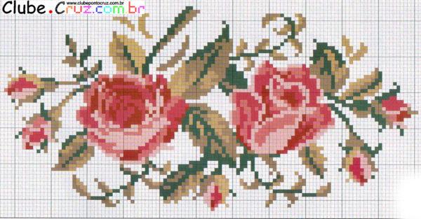 Graficos De Rosas De Ponto Cruz 2  Dicasdeartesanatos Br  14