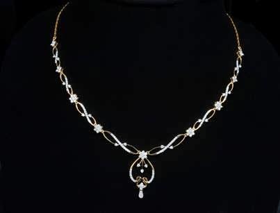 Indian Jewellery Designs Light weight diamond necklace designs