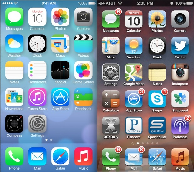 iOS 7 VS. iOS 6 Home Screen UI Comparison