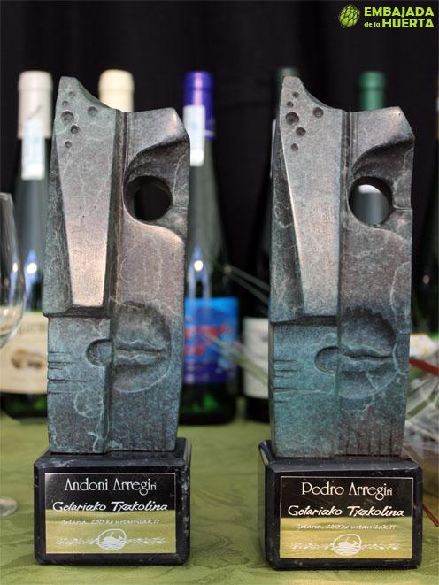 Premios Mahasti Jaun a Pedro y Andoni Arregi en la presentación de la cosecha 2012 de la Denominación de Origen Txakolí de Getaria - Getariako Txakolina