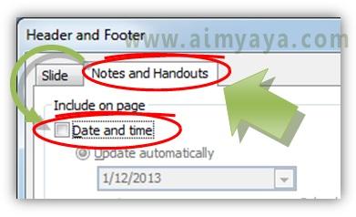Gambar:  Cara menghilangkan tanggal dan jam dari notes dan handouts  powerpoint