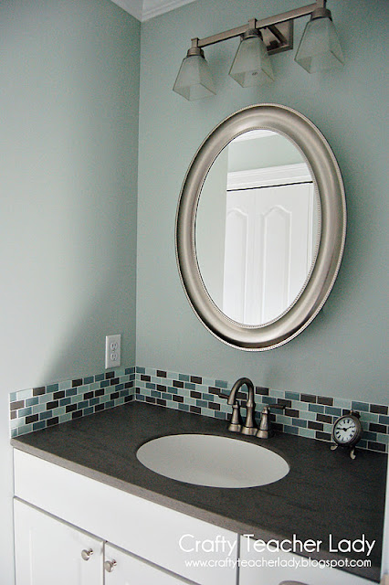 Bathroom design paint color Sea Salt by Sherwin Williams