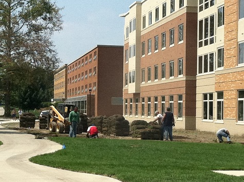 sod in front of the residence hall