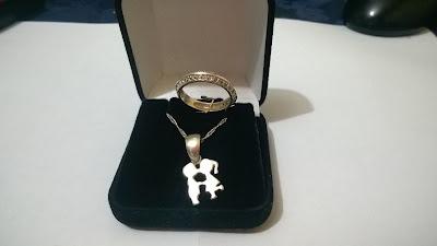 presente dia dos namorados: corrente e anel de prata