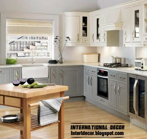 L-shaped kitchen in classic style, grey and white kitchen