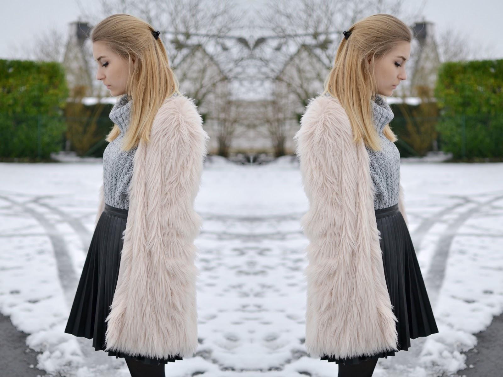 Pastel pink faux fur coat H&M