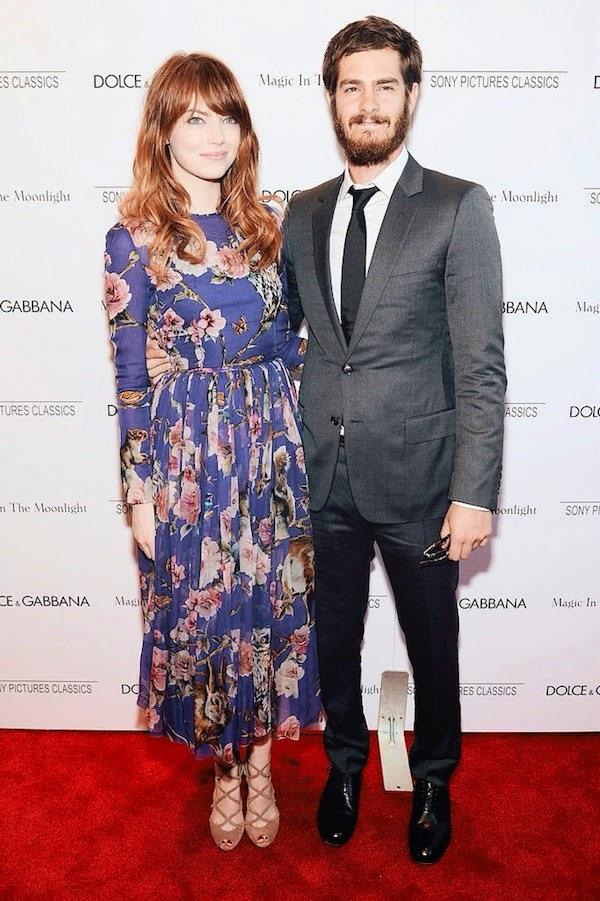 Emma Stone in Dolce Gabbana floral blue dress and Andrew Garfield in grey Dior Homme suit at Magic In The Moonlight premiere - Paris Theater 17th July 2014 New York City