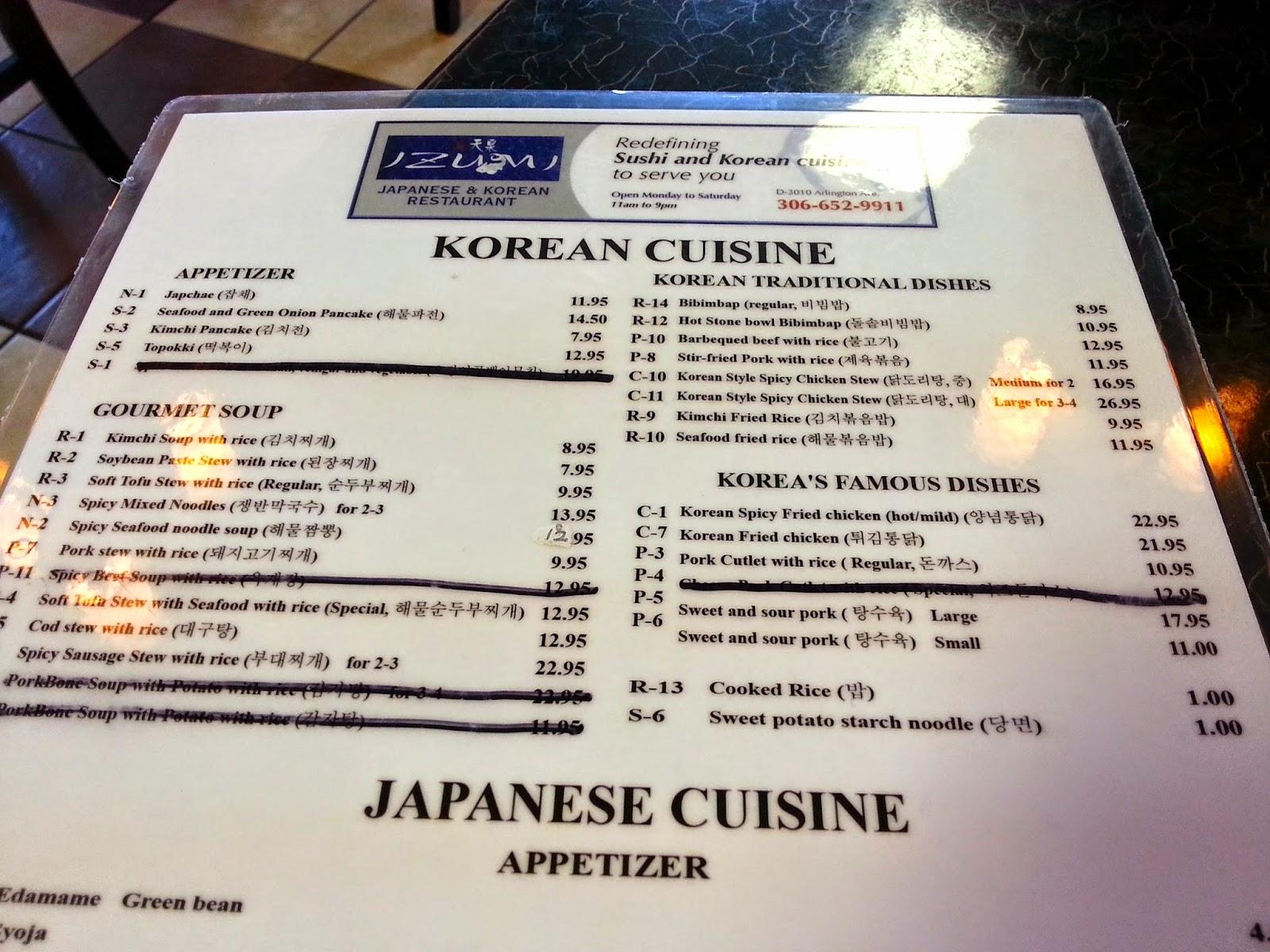 Freakzspeaks something korean izumi japanese korean for Asian cuisine saskatoon menu