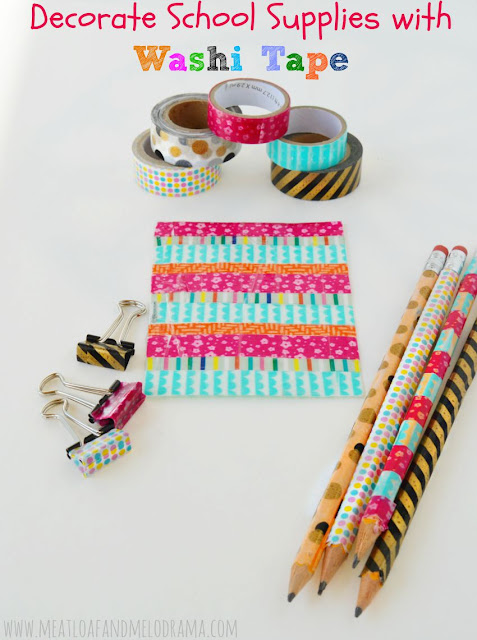 washi tape covered pencils and binder clips and bookmark