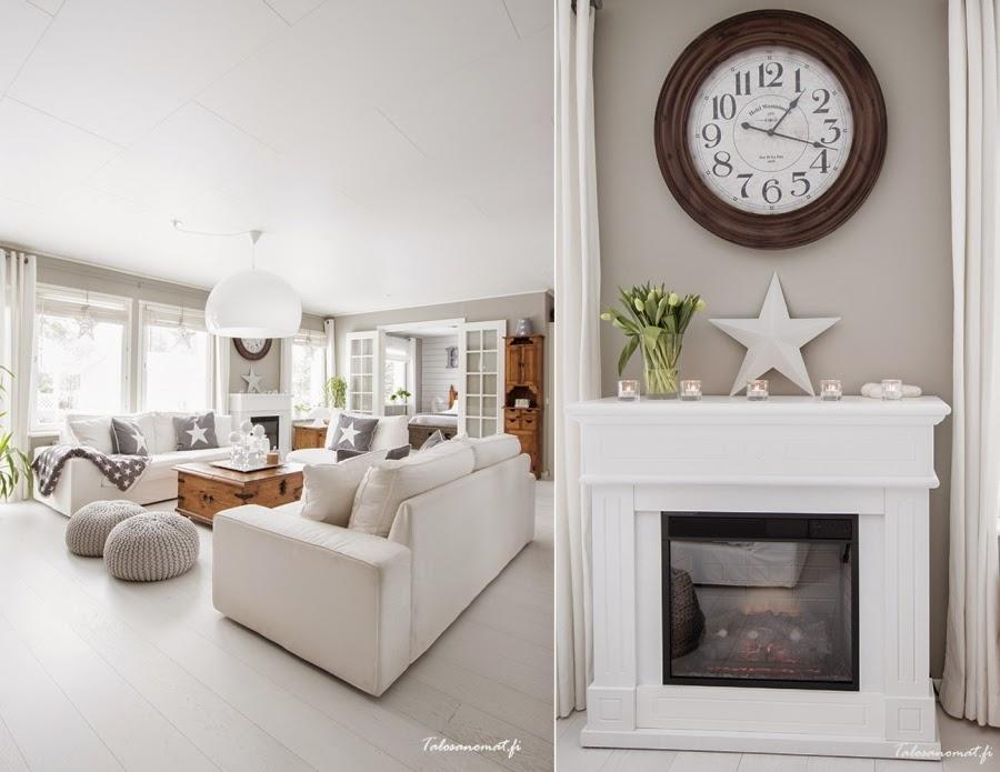 wnętrza, wystrój wnętrz, home decor, dom mieszkanie, urządzanie, dekoracje, gwiazda, gwiazdki, motyw, star, szarości, biel, białe wnętrza, salon, pokój dzienny, kominek