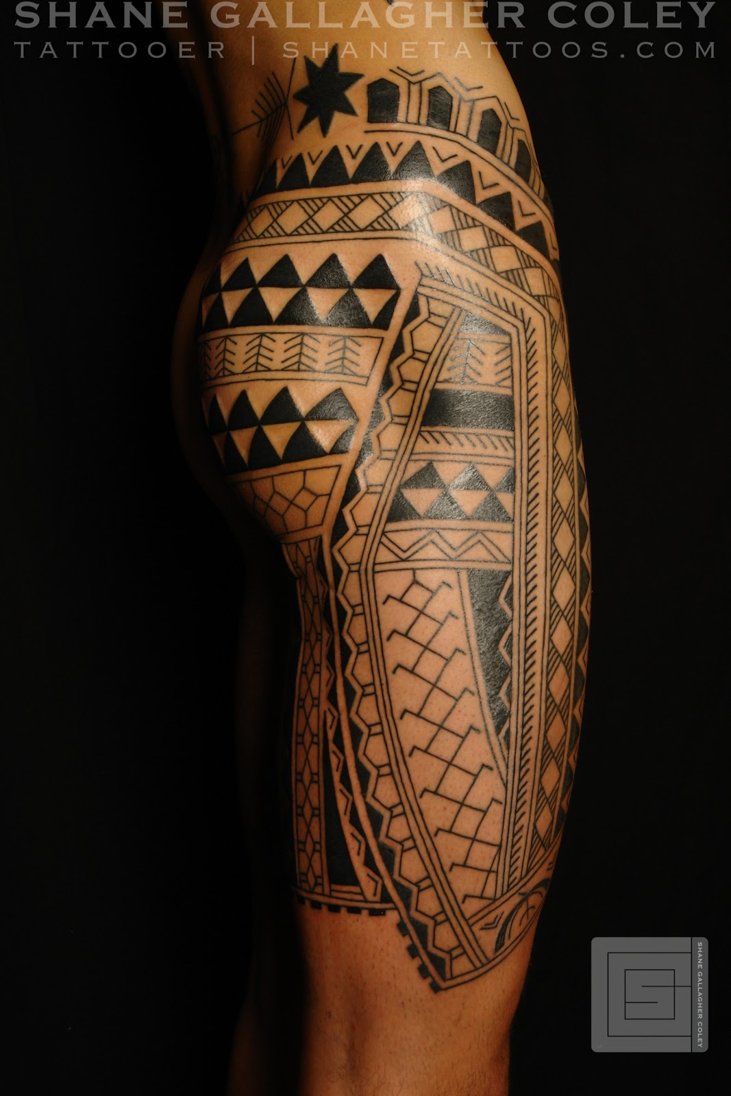 Maori polynesian tattoo filipino leg tattoo for Polynesian thigh tattoo