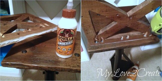 Attaching seat back with pocket holes and gorilla glue