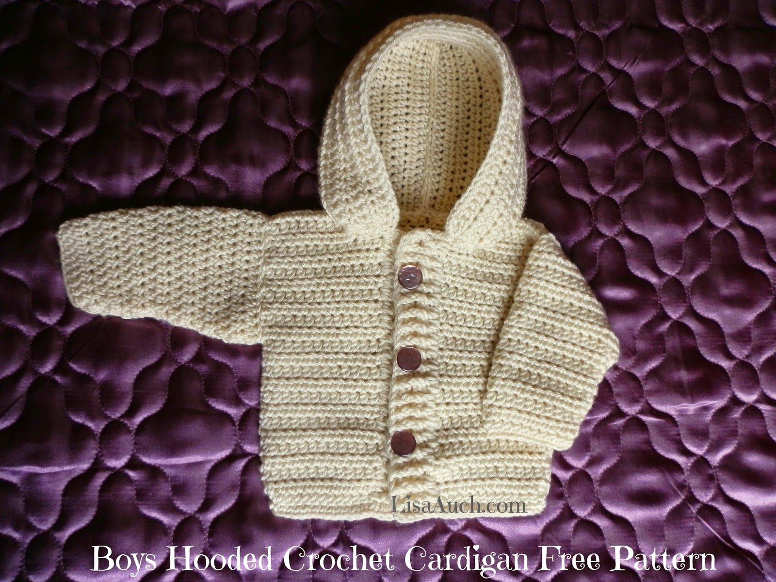 Free Crochet Pattern Hooded Sweater : Baby Boy Sweaters Patterns