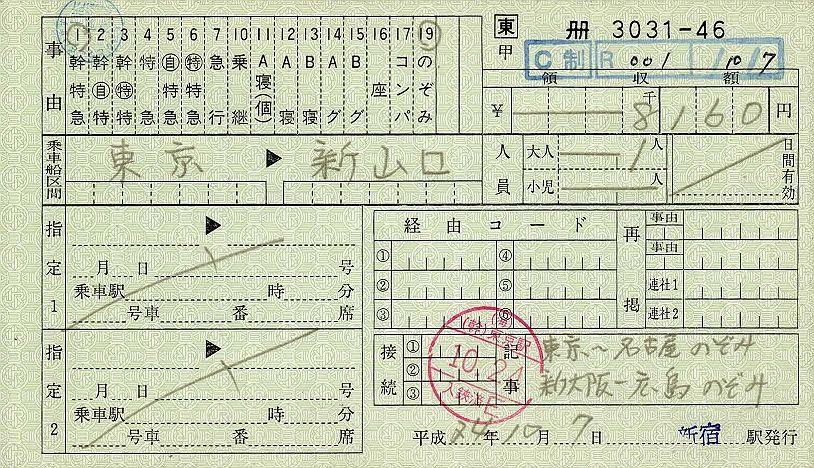 JR東日本 料金専用補充券7 新宿駅 新幹線特急券(のぞみ料金)
