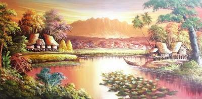 Lukisan Pemandangan Desa Di Kaki Gunung | Devdas Angers