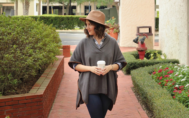 fall/autumn look: tjmaxx poncho, loft plaid blouse, denim, floppy hat, perfect for fall, cozy