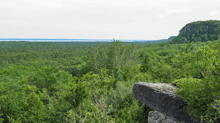 View of limestone cliffs and trees
