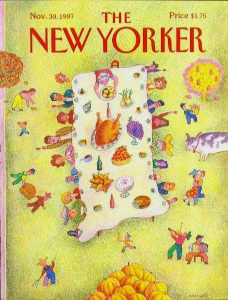 Andrzej Czeczot illustration forNewYorker cover of a thanksgiving dinner