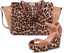 Arezzo alto verão animal print sapatos e bolsas