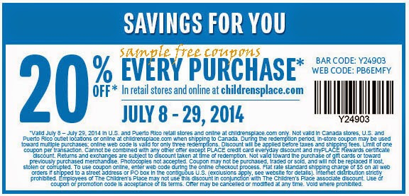 Childrens place printable coupon june 2018