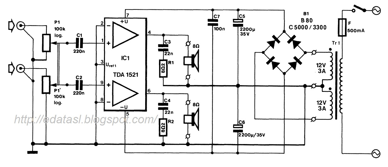 electronic circuit  componnent data  lesson and etc u2026   integrated stereo amplifier