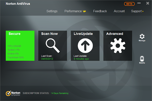 Norton Antivirus 2013 Beta Released - Interface