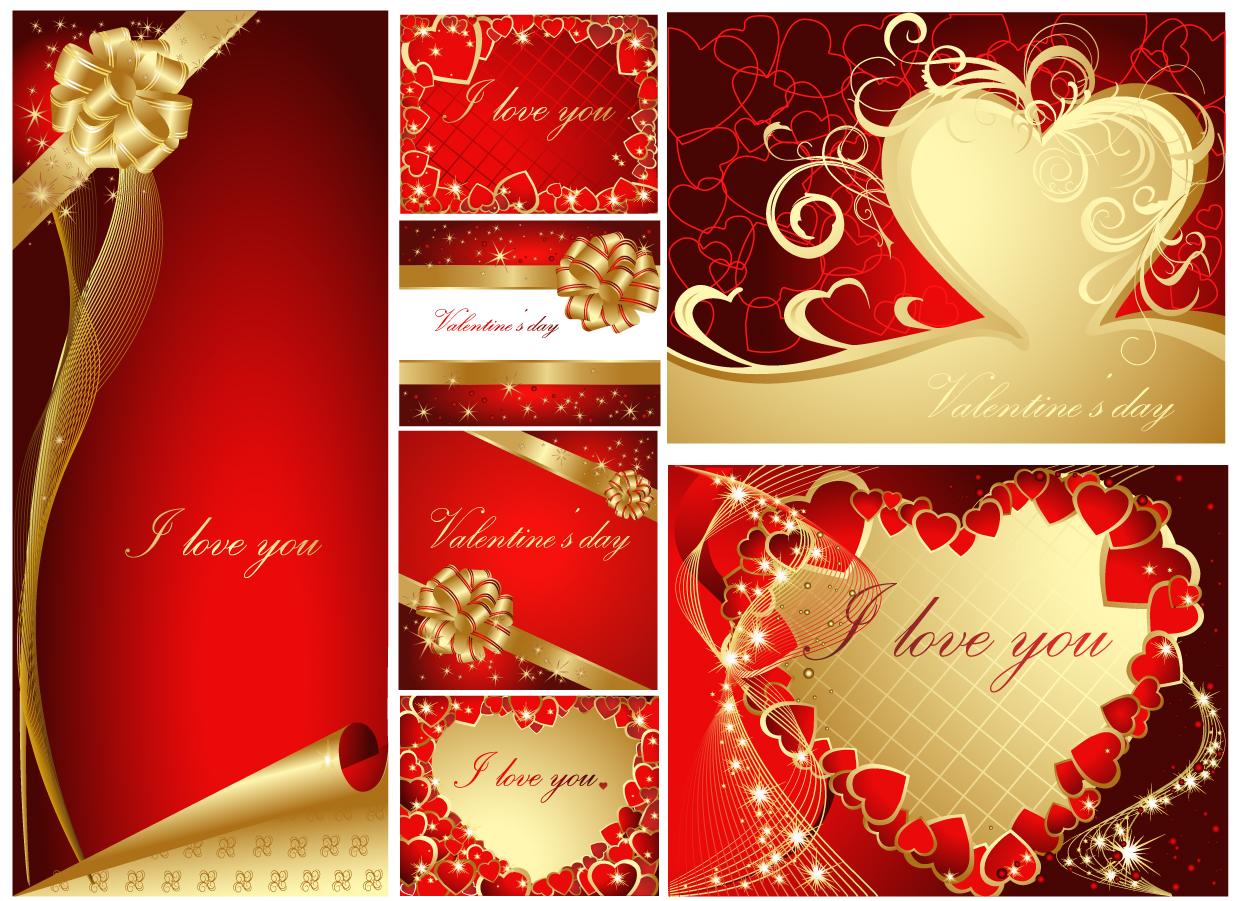 ロマンチックなハートリボンのバレンタインデー背景 romantic heartshaped ribbon background イラスト素材4