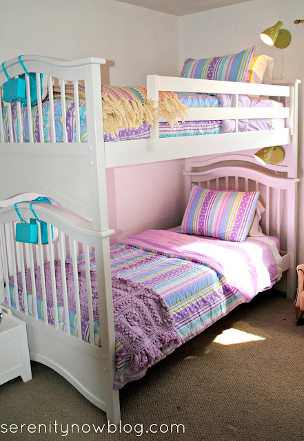 Add IKEA Lamps to Girls' Bunk Beds, from Serenity Now