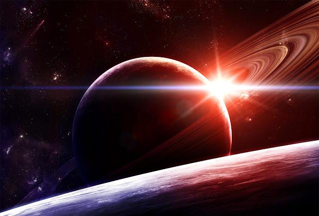 Anéis saturno, luz espacial, brilho no universo