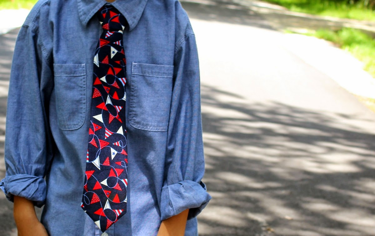 Nautical / patriotic neck tie for men and boys, available now at Because I'm Me