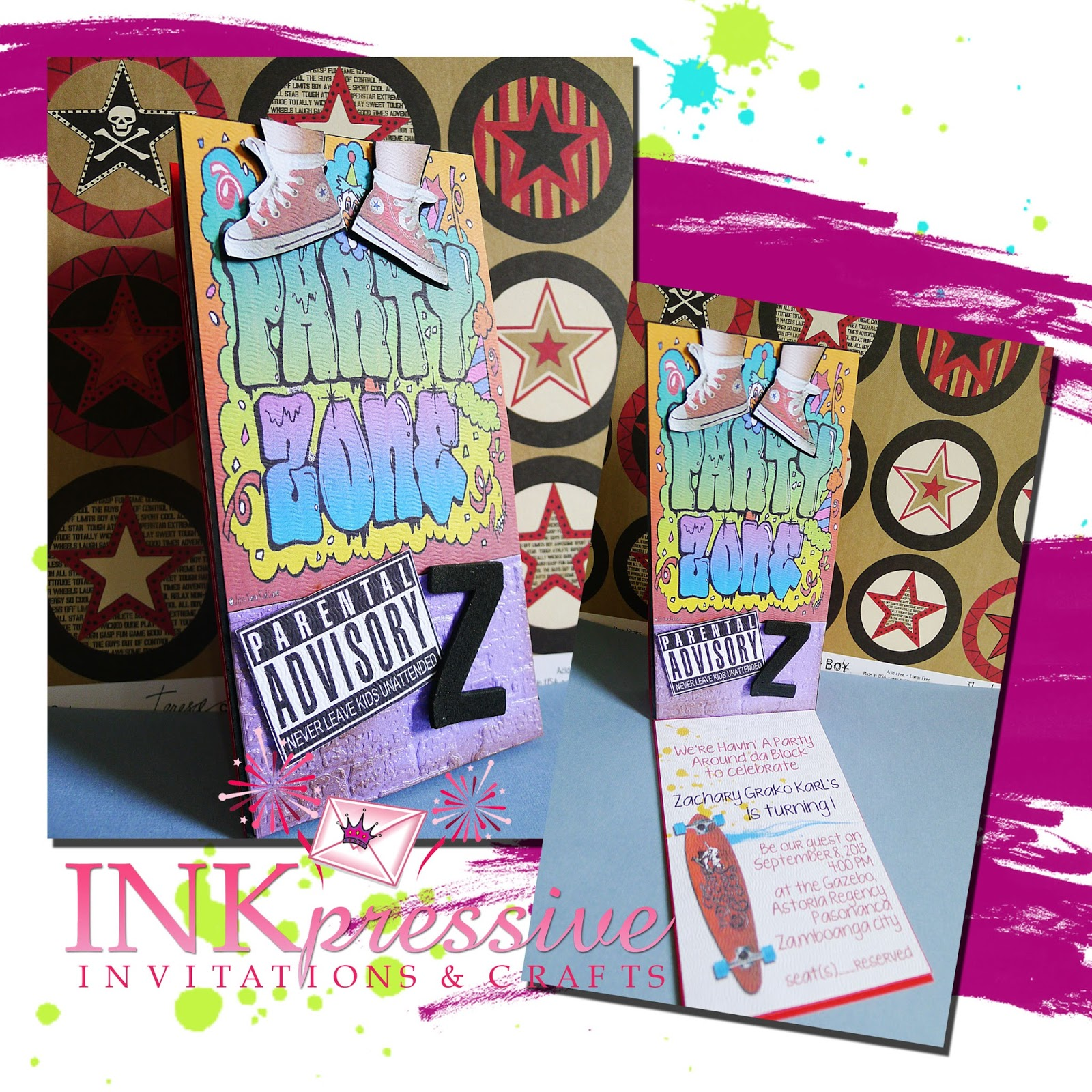 Graffiti Block Party Easel Card invitations | INKPRESSIVE INVITATIONS