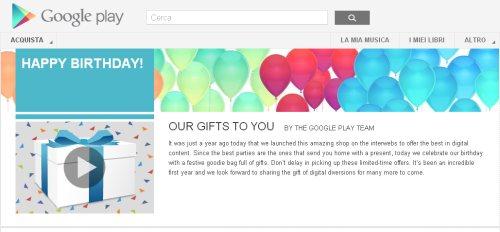Google per festeggiare l'anniversario del Google Play regala sconti e applicazioni gratuite ai suoi clienti android