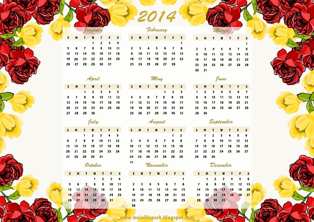 MeinLilaPark: Free printable flower framed 2014 calendar