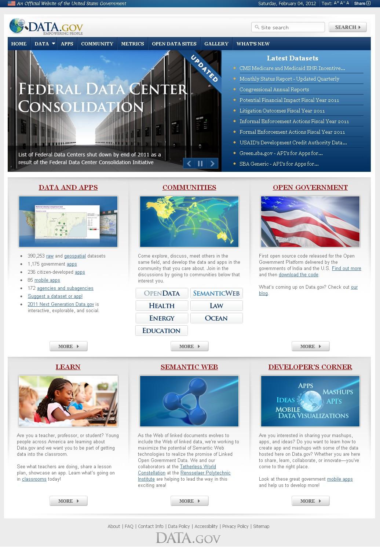 美國政府資料公開政策網站畫面