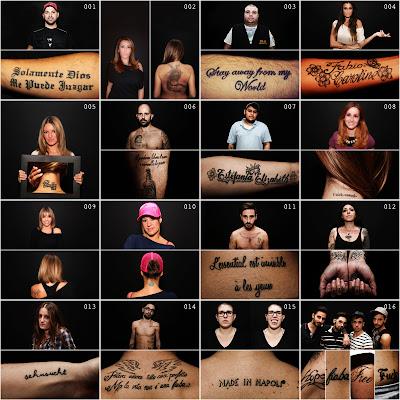 Collage di fotografie di uomini e donne con tatuaggi. Di Michele Del Vecchio per Spazio Tangram