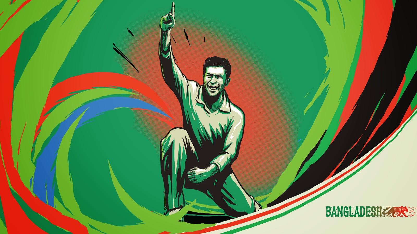 Mushfiqur Rahim Bangladeshi cricketer illustration sketch