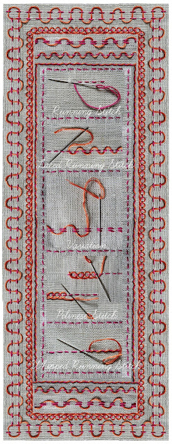 Running Stitch and decorative variations ... Laced Running Stitch, Pekinese, Stitch, Whipped Running Stitch