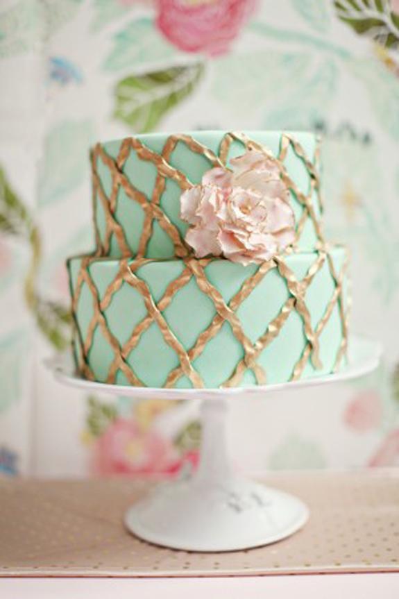 Square Wedding Aqua Mint Rose Cake
