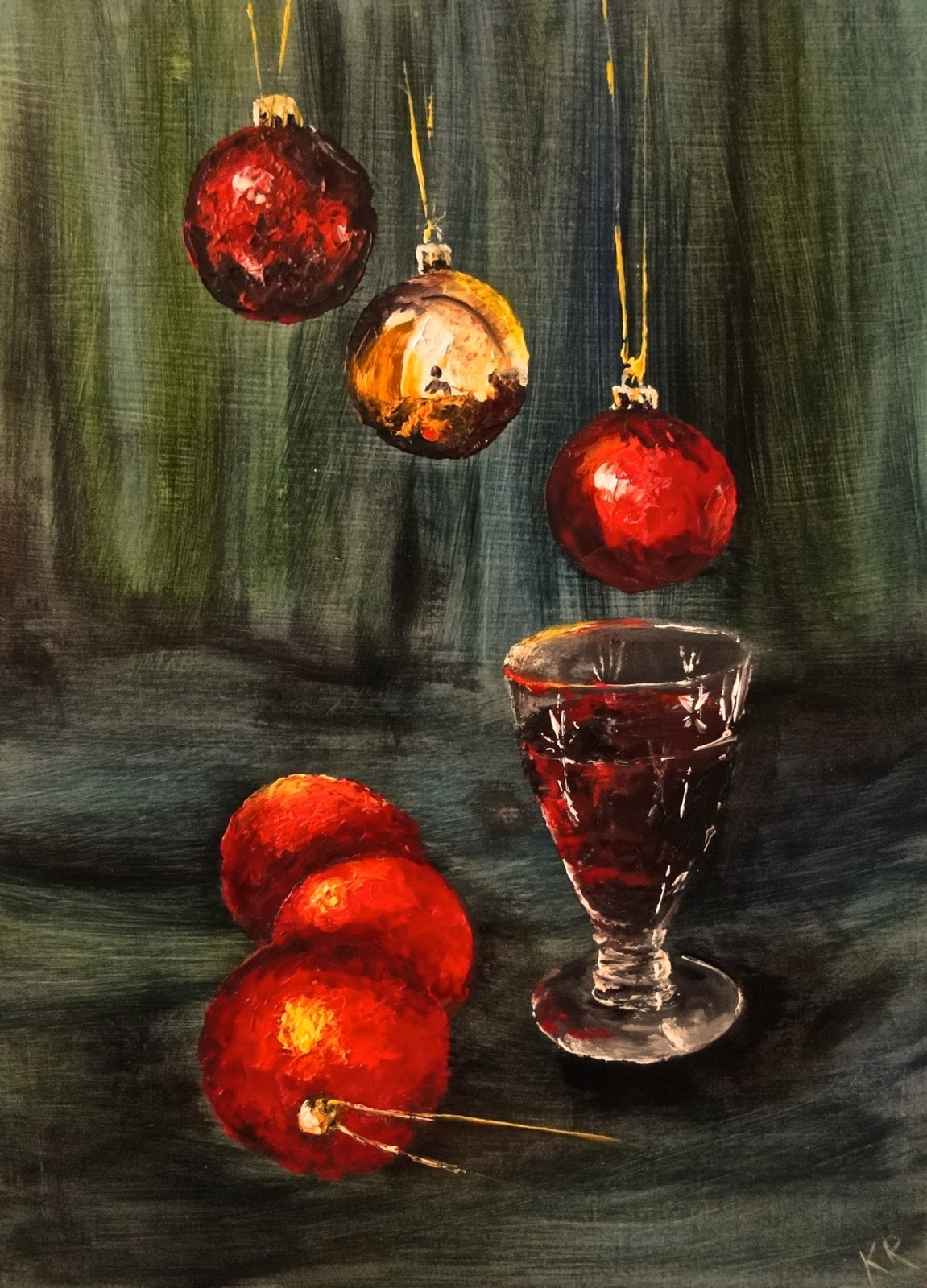 "Still life, for Advent, 8""x6"", oils on board, still life, Advent, reflections, glass of wine"