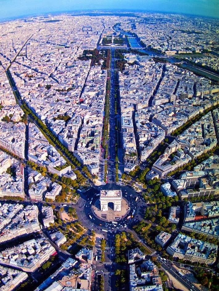 The Breathtaking view of Paris from the bird's-eye view - Champs Elysees.