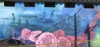 Crean mega mural en el Mercado de Jamaica contando 500 años de historia