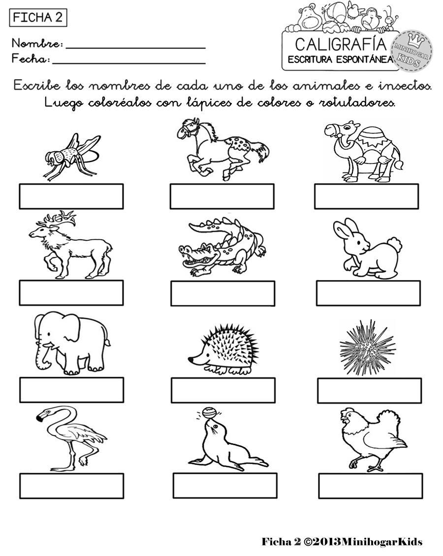 MinihogarKids: ESCRITURA ESPONTÁNEA. FICHAS 1,2,3,4 y 5. ESCRIBE Y ...