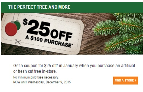 The Home Depot $25 Off Coupon When You Buy Christmas Tree