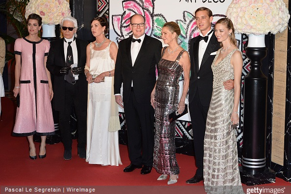 Charlotte Casiraghi, Karl Lagerfeld, Princess Caroline of Hanover, Prince Albert II of Monaco, Paola Marzotto, Pierre Casiraghi and Beatrice Borromeo attend the Rose Ball 2015 in aid of the Princess Grace Foundation at Sporting Monte-Carlo